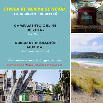 cartel escuela de musica de verano Ortigueira 2020